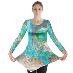 Doodle Sketch Drawing Landscape Long Sleeve Tunic  by Celenk