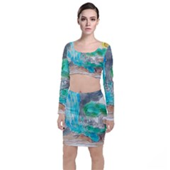 Doodle Sketch Drawing Landscape Long Sleeve Crop Top & Bodycon Skirt Set