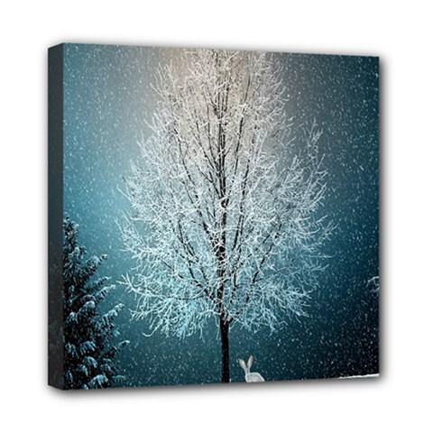 Winter Wintry Snow Snow Landscape Mini Canvas 8  X 8  by Celenk