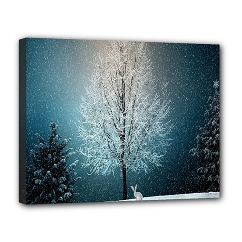 Winter Wintry Snow Snow Landscape Canvas 14  X 11  by Celenk