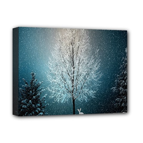 Winter Wintry Snow Snow Landscape Deluxe Canvas 16  X 12   by Celenk