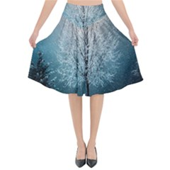 Winter Wintry Snow Snow Landscape Flared Midi Skirt by Celenk