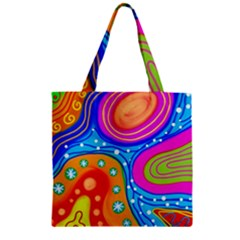 Abstract Pattern Painting Shapes Zipper Grocery Tote Bag