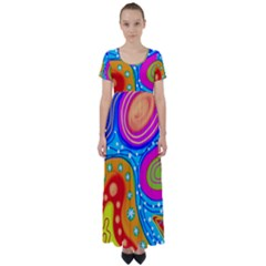 Abstract Pattern Painting Shapes High Waist Short Sleeve Maxi Dress