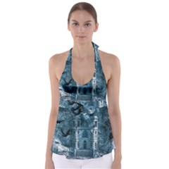 Church Stone Rock Building Babydoll Tankini Top by Celenk
