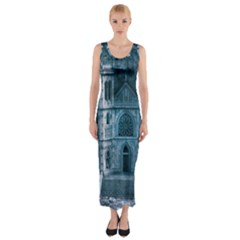 Church Stone Rock Building Fitted Maxi Dress