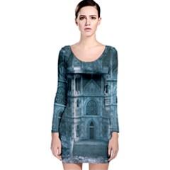 Church Stone Rock Building Long Sleeve Velvet Bodycon Dress