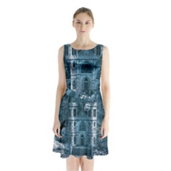 Church Stone Rock Building Sleeveless Waist Tie Chiffon Dress