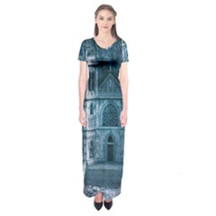 Church Stone Rock Building Short Sleeve Maxi Dress by Celenk