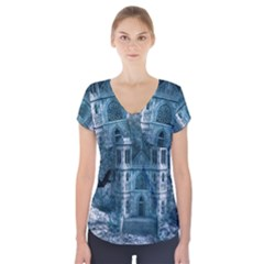Church Stone Rock Building Short Sleeve Front Detail Top