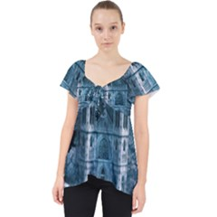 Church Stone Rock Building Lace Front Dolly Top