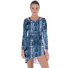 Church Stone Rock Building Asymmetric Cut-Out Shift Dress