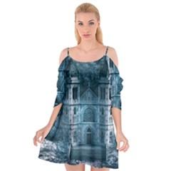 Church Stone Rock Building Cutout Spaghetti Strap Chiffon Dress