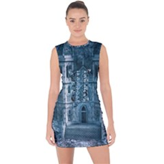 Church Stone Rock Building Lace Up Front Bodycon Dress