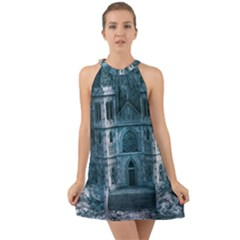 Church Stone Rock Building Halter Tie Back Chiffon Dress
