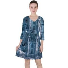 Church Stone Rock Building Ruffle Dress