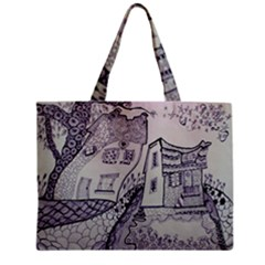 Doodle Drawing Texture Style Zipper Mini Tote Bag