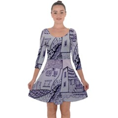 Doodle Drawing Texture Style Quarter Sleeve Skater Dress