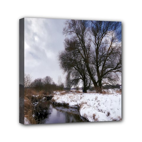 Winter Bach Wintry Snow Water Mini Canvas 6  X 6  by Celenk