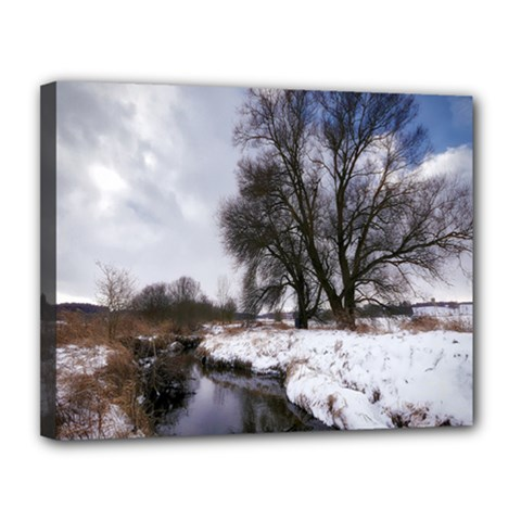 Winter Bach Wintry Snow Water Canvas 14  X 11  by Celenk