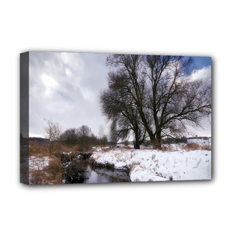 Winter Bach Wintry Snow Water Deluxe Canvas 18  X 12   by Celenk