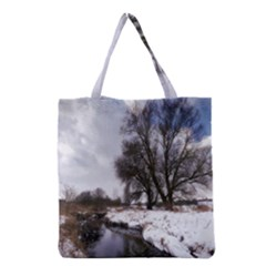Winter Bach Wintry Snow Water Grocery Tote Bag by Celenk