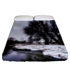 Winter Bach Wintry Snow Water Fitted Sheet (king Size) by Celenk