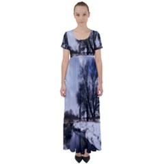 Winter Bach Wintry Snow Water High Waist Short Sleeve Maxi Dress