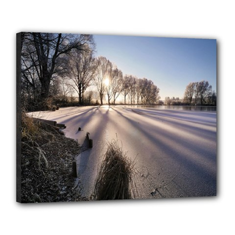 Winter Lake Cold Wintry Frozen Canvas 20  X 16  by Celenk
