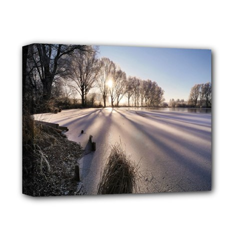 Winter Lake Cold Wintry Frozen Deluxe Canvas 14  X 11  by Celenk
