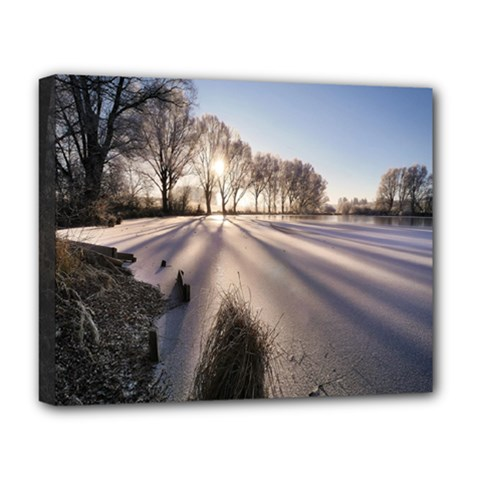 Winter Lake Cold Wintry Frozen Deluxe Canvas 20  X 16   by Celenk