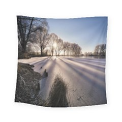 Winter Lake Cold Wintry Frozen Square Tapestry (small) by Celenk