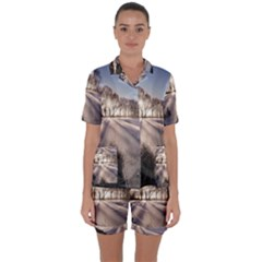 Winter Lake Cold Wintry Frozen Satin Short Sleeve Pyjamas Set by Celenk