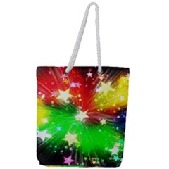 Star Abstract Pattern Background Full Print Rope Handle Tote (large)