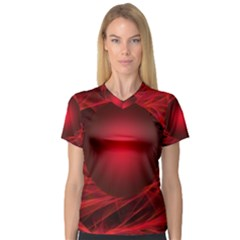 Abstract Scrawl Doodle Mess V Neck Sport Mesh Tee
