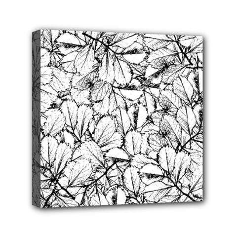 White Leaves Mini Canvas 6  X 6  by SimplyColor