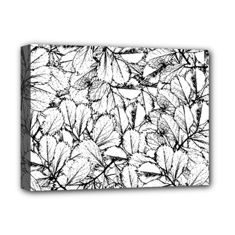 White Leaves Deluxe Canvas 16  X 12   by SimplyColor