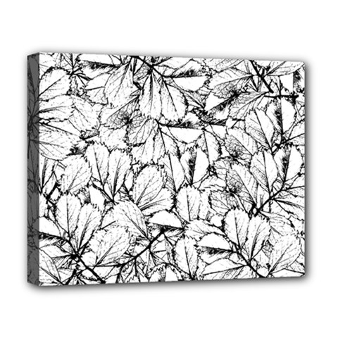 White Leaves Deluxe Canvas 20  X 16   by SimplyColor