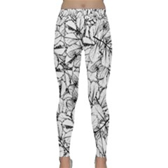 White Leaves Classic Yoga Leggings by SimplyColor