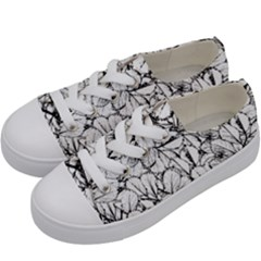 White Leaves Kids  Low Top Canvas Sneakers by SimplyColor