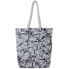 White Leaves Full Print Rope Handle Bag (small) by SimplyColor