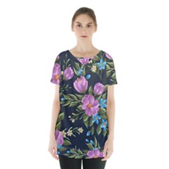 Beautiful Floral Pattern Skirt Hem Sports Top by AllThingsEveryone