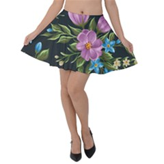 Beautiful Floral Pattern Velvet Skater Skirt