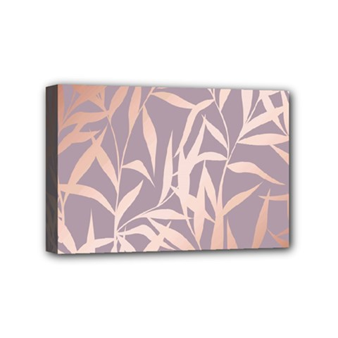Rose Gold, Asian,leaf,pattern,bamboo Trees, Beauty, Pink,metallic,feminine,elegant,chic,modern,wedding Mini Canvas 6  X 4