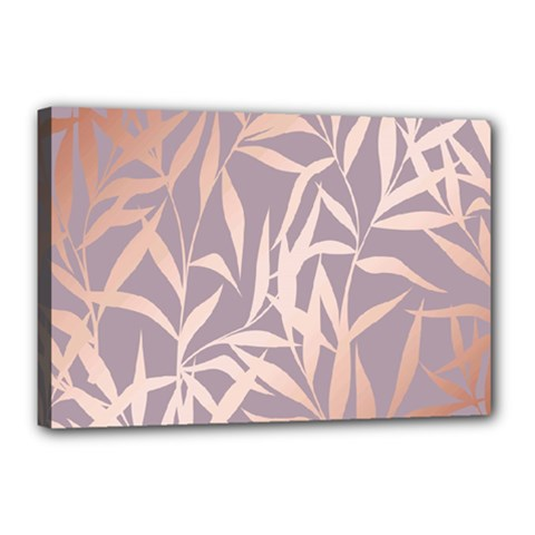 Rose Gold, Asian,leaf,pattern,bamboo Trees, Beauty, Pink,metallic,feminine,elegant,chic,modern,wedding Canvas 18  X 12  by 8fugoso