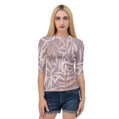 Rose Gold, Asian,leaf,pattern,bamboo Trees, Beauty, Pink,metallic,feminine,elegant,chic,modern,wedding Quarter Sleeve Raglan Tee