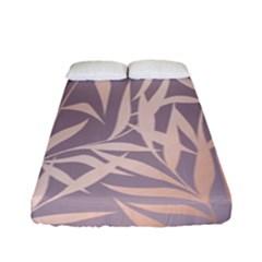 Rose Gold, Asian,leaf,pattern,bamboo Trees, Beauty, Pink,metallic,feminine,elegant,chic,modern,wedding Fitted Sheet (full/ Double Size)