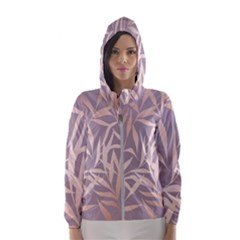 Rose Gold, Asian,leaf,pattern,bamboo Trees, Beauty, Pink,metallic,feminine,elegant,chic,modern,wedding Hooded Wind Breaker (women)