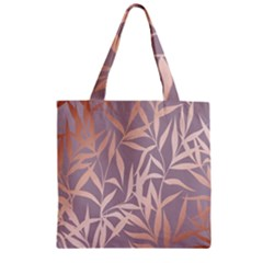 Rose Gold, Asian,leaf,pattern,bamboo Trees, Beauty, Pink,metallic,feminine,elegant,chic,modern,wedding Zipper Grocery Tote Bag by 8fugoso