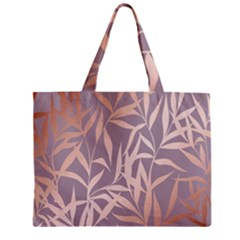 Rose Gold, Asian,leaf,pattern,bamboo Trees, Beauty, Pink,metallic,feminine,elegant,chic,modern,wedding Zipper Mini Tote Bag by 8fugoso